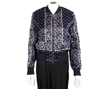 3.1 Phillip Lim Bomber Jacket New Chain Fence Navy Blue US 0
