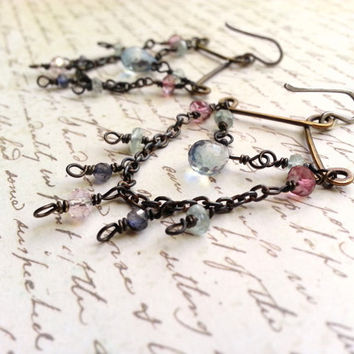 Chandelier Earrings Rustic Brass Sterling Silver Ear Wires Semiprecious Gemstone Beads Romantic Boho Bohemian Chic Gypsy Jewelry Pink Blue