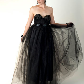 The Reckoner Bustier Gown in Black Tulle w/ Gold Rhinestones Made to Order
