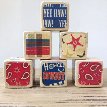 Cowboy Cowgirl Blocks // Natural Wood Toy // Baby Shower Gift // Nursery Decor