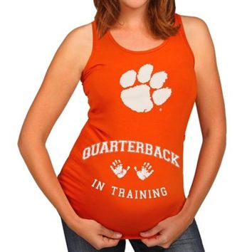 Clemson Tigers Maternity Kick-Off In Progress Tank Top - Orange