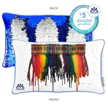 Logan Center Mermaid Pillow with Blue & Silver Reversible Sequins