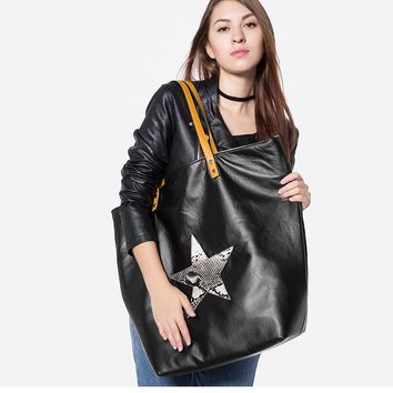 Star Graphic Women's Big Synthetic Leather Shoulder Bags - Double Side Purse Canvas Handbags Totes