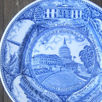 1950s Washington, D.C. Souvenir Plate - Jefferson/Lincoln Memorials/U.S. Capitol Plate - White/Blue Transferware Washington Souvenir Plate