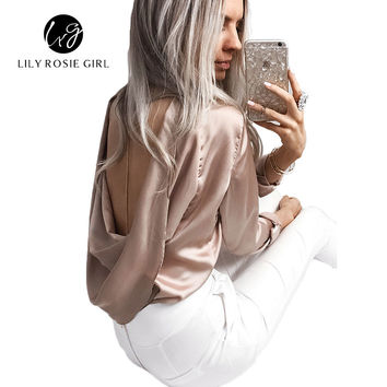 Autumn Sexy Satin Ruffles Women Blouse Hollow Out Back O Neck Long Sleeve Party Evening Blusa Ladies Tops Shirts