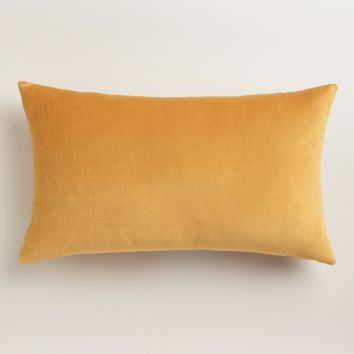 Amber Gold Velvet Lumbar Pillow