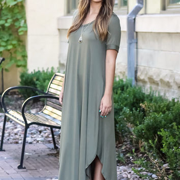 Change the World Maxi Dress: Olive