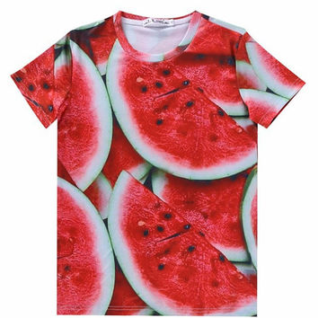 Juicy Watermelon Shirt Hip Hop Urban Swag Sublimation All Over Print Shirt Tee Shirt Graphic Tee Gift Idea Free Shipping USA