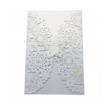 10pcs Wedding Butterfly Invitations Laser Cut Cards For Bridal Shower Birthday With Ribbon Paper And Envelopes
