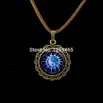 TAIJI yinyang art pture Leather Necklace hot sale charms Wcan Jewelry supernatural accessories personality gift  L 470