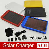 Solar Battery Chargers 2600mAh Portable B Solar Energy Panel Power Bank For Mobile Phone PAD Tablet MP3/MP4 With Retails Box
