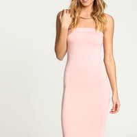 ROSE STRAPLESS MIDI KNIT DRESS