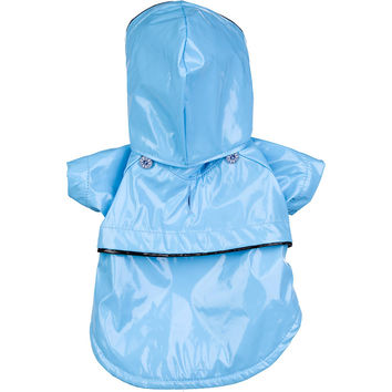 Baby Blue Pvc Waterproof Adjustable Pet Raincoat - Light Blue: X-Small