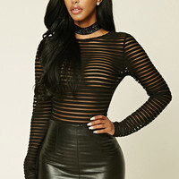 Sheer Mesh-Paneled Bodysuit