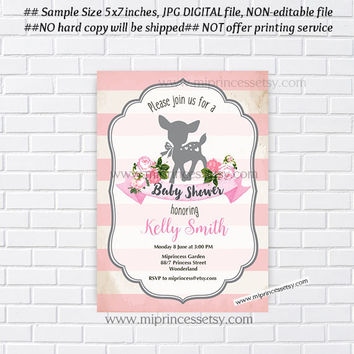 Deer baby shower invitation,  girl baby shower, boy baby shower invitation vintage frame Fawn baby shower or kids birthday - card 927