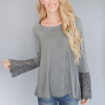 Skyline Lace Grey Bell Sleeve Top