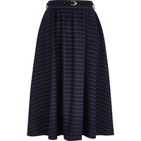 River Island Womens Navy stripe full midi skirt