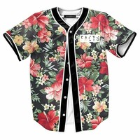 Men 23 Landscape Floral Print Beach T shirts 3d tee shirt camiseta homme luxury t shirt men  brand Contrast color Black tops