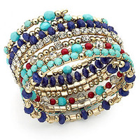 INC International Concepts Bracelet, 14k Gold-Plated Blue Multi-Bead Coil Bracelet - All Fashion Jewelry - Jewelry & Watches - Macy's