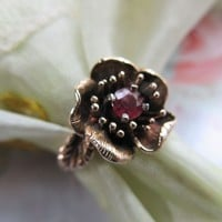 Vintage Finish 14K Ruby Poppy Ring  NW Nils Westerback