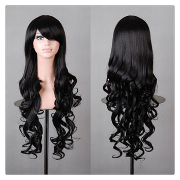 Women New Fashion Women Girl 80cm Wavy Curly Long Hair Full Cosplay Party Sexy Lolita wig  Black