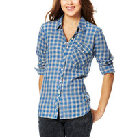 Oversized Flannel Button-Down Shirt - Blue Multi