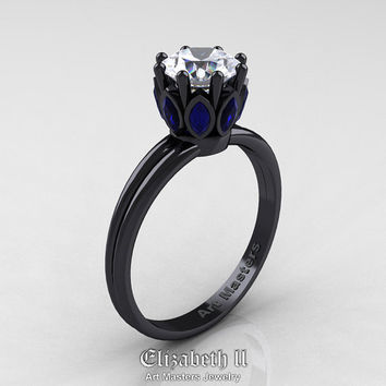 Elizabeth II - Classic 14K Black Gold Marquise Blue Sapphire 1.0 Ct Round Diamond Solitaire Ring R90-14KBGBSD