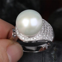 Unique 11.65mm South Sea Pearl Real 14K White Gold Pave .45ct Diamond Ring 6.16g