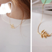 New Arrival Jewelry Stylish Shiny Gift Metal Leaf Simple Necklace [8451550157]
