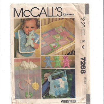 McCall's 7268 Pattern for Baby Package, Quilt, Crib Bumper, Bag, Bib, Mobile, Toys, From 1980, 1 Size, Vintage Pattern, Home Sewing Pattern