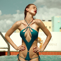 Hollow Deep V Multi-rope Bandage Straps Bikini Jumpsuit Swimwear