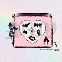 Choose Your Pastel Color* Digital Spooky Pouch With Custom Initial - For Planners & Stationery
