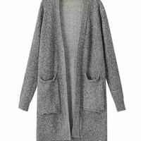 Open Front Long Sleeves  Asymmetric Knitted Cardigan With Pockets