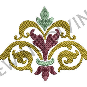 FLEUR de lis Damask EMBROIDERY Design 3 Sizes 8 Formats Instant DOWNLOAD Chevron Pattern Stitching