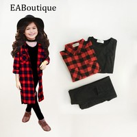 EABoutique spring Street Fashion Long Red Plaid long shirt with vest hole designs pants girls clothing set 3 piece