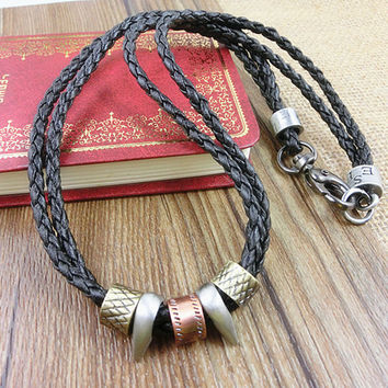 2-Pack Leather Bracelets and Necklace-  Wristband - Great For Men, Women, Teens, Boys, Girls 2593s