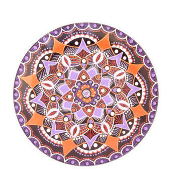 Hand-painted colorful decorative plate Bilberry flower, point-to-point, violet, copper, souvenir, wall decor