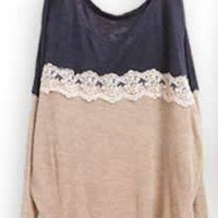 *Free Shipping@ Dark Blue Women Knitting Sweater One Size YL948298dbl from efoxcity