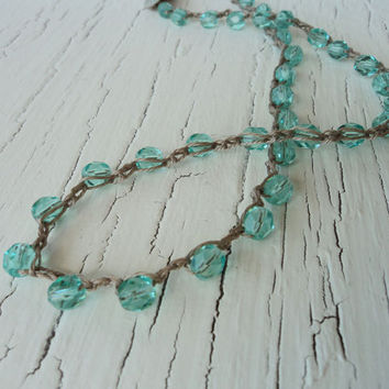 Aqua Crochet Necklace, Beaded Crocheted Jewelry, Boho Chic,  Beachy Beach Chic, Surfer GIrl Style