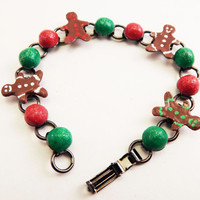 Gingerbread jewelry Christmas bracelet Christmas jewelry gift for her red and green xmas bracelet polymer clay handmade holiday jewelry
