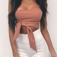 Fashionable Smoves Women Off Shoulder Sleeveless Ruffled Straps Satin Tube Top