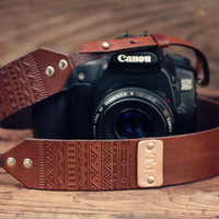 READY to SHIP Camera Strap, Custom Leather Camera Strap, Last Minute Gift Ideas, Hipster, Aztec handmade, Custom text, name initials