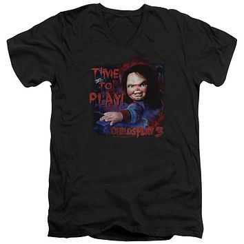 Childs Play Slim Fit V-Neck T-Shirt Chucky Time To Play Black Tee