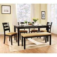 Walmart: Lexington 6-Piece Dining Table Set with Ladder-Back Chairs and Bench, Black