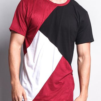 Diagonal Colorblock Poly Suede Mesh T-Shirt