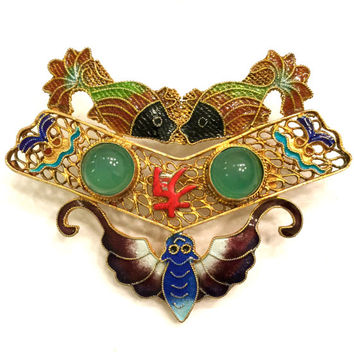 Brooch Sale Chinese Art Deco Sterling Silver Brooch,  Gold Clad Sterling Silver Filigree, Enamel Moth and Koi, Jade Green Glass Cabochons