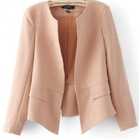 Polyester, Blends Nude Color Long Sleeve No Button Design All-Match Blazer  style 819zz006