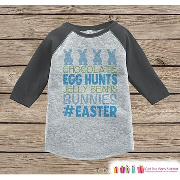 Boy's Easter Outfit - #Easter Grey Raglan Shirt or Onepiece - Easter Egg Hunt - Easter Bunny - Baby, Toddler, Kids, Youth Novelty Raglan Tee