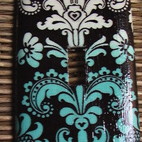 Damask Teal Tiffany Blue and White on Black by QuillowShop