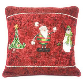 Tache Here Comes Santa Claus Vintage Holiday Woven Tapestry Cushion Cover (8577CC)